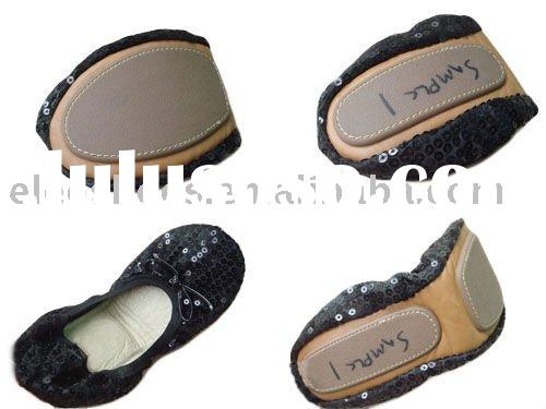 foldable shoe ,after party shoe , fold ballerina with bag