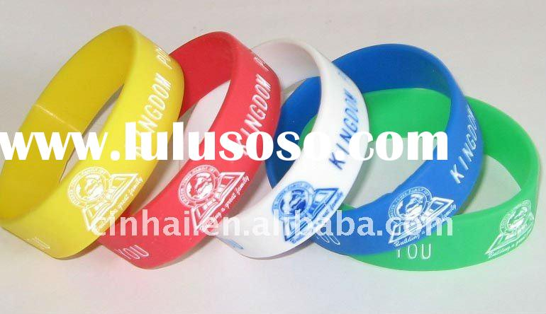 high quality Debossed and color filled Silicone Wristband in 19mm wide