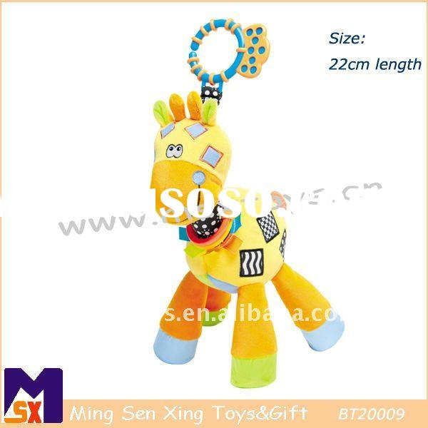 infant soft plush stuffed giraffe toy with hanging chewy teether
