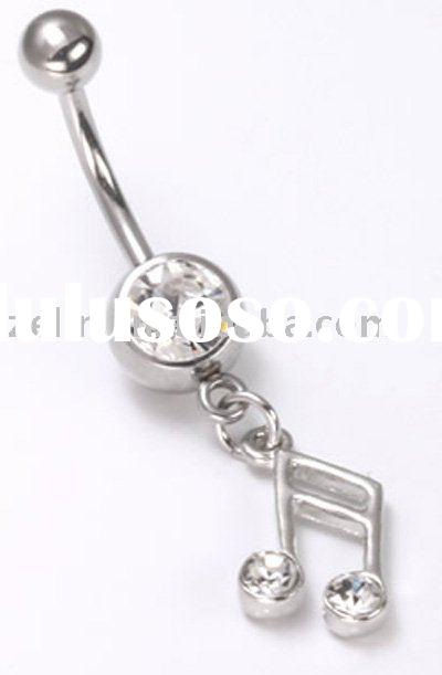 music notes stainless steel rings jewelry navel belly body piercing