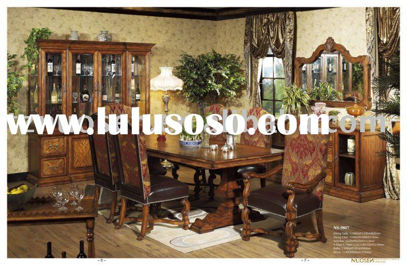 new classical wood dining room furniture set NS-9807