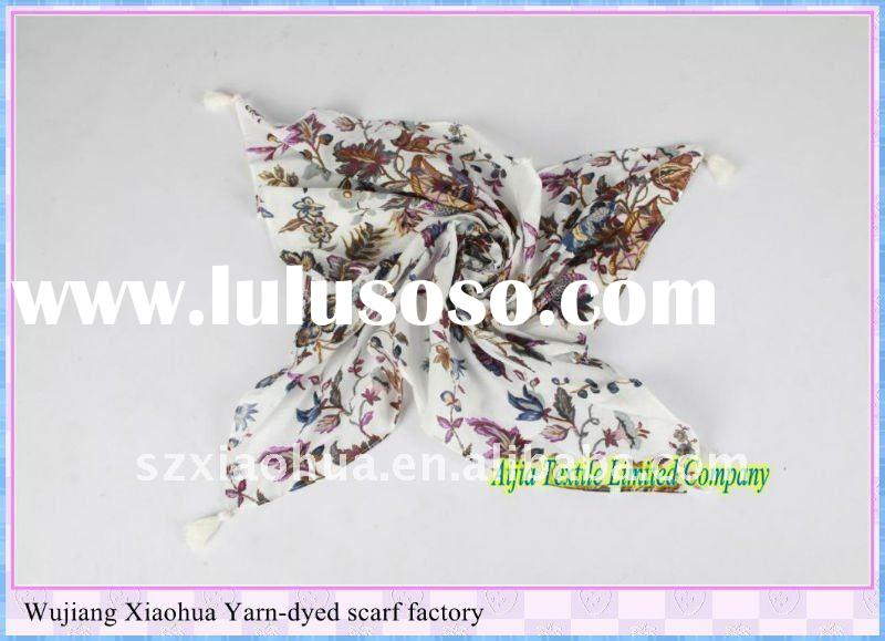 new small flower printed 100% cotton square scarf