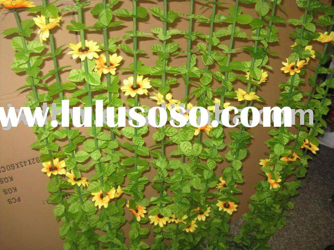 plastic leaf bamboo curtains with flower decoration