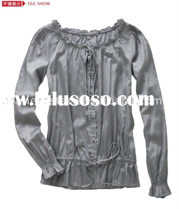 polyester/spandex plain ladies tops with long sleeve