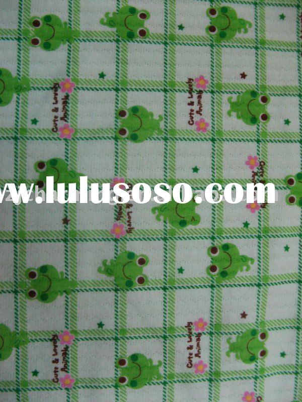 printed polyester cotton spandex air layer fabric