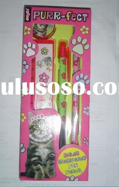 school stationery set( pen,pencil sharpener, ruler)