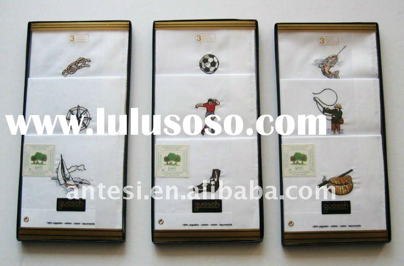 100% cotton handkerchiefs with embroidery in gift box