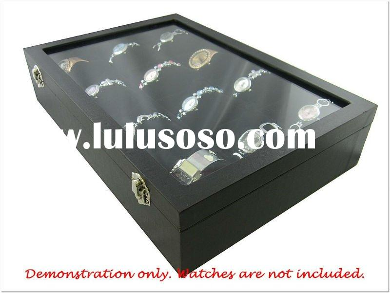 12 Compartment with Black Pillow Watch Bangle Jewelry Glass Top Lid Cover wood Storage Box Holder Wa