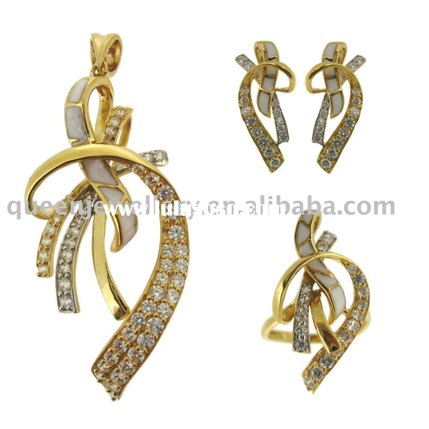 18k gold jewelry with enamel and stones setQMH034