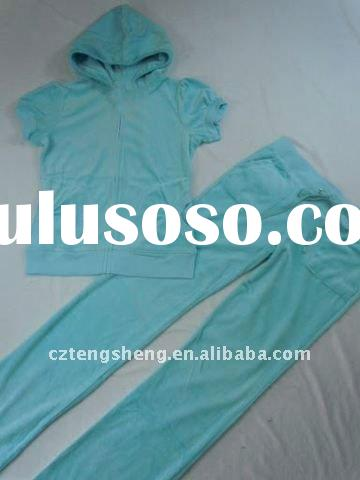 2011 new style wholesale ladies fashion velour tracksuit 0822-green/black/red/rose