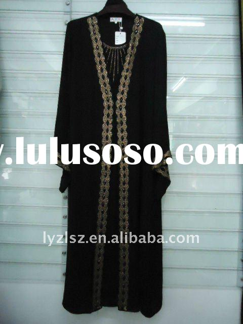 A081708 Hot sale boutique dubai black abaya with diamond and embroidery