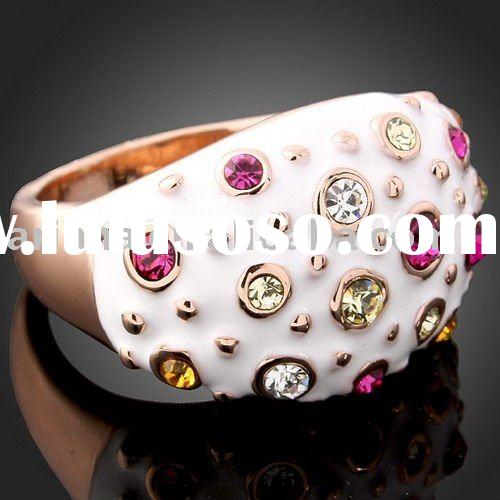 ARINNA Crystal enamel fashion Costume finger Jewelry ring gold ring crystal rings J0089