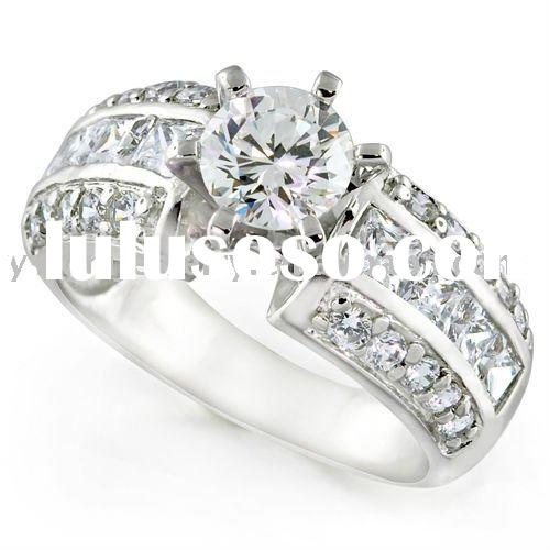 Alloy CZ Artificial Zircon Wide Band Engagement Ring Designer Inspired