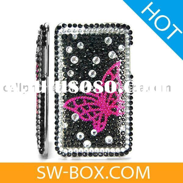 Butterfly Diamond Rhinestone Bling Hard Case for iPod Touch 2 / 3(Black & Pink) -for ipod touch