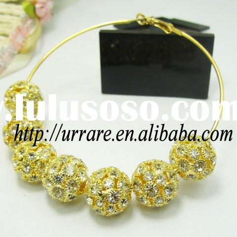 Claws Setting Rhinestone Ball Beads with gold Hoop Earring