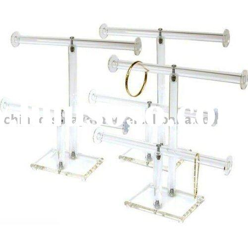 Clear Acrylic T-Bar Bracelet Necklace Jewelry Displays Stands