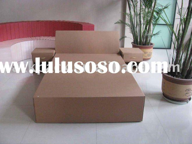 Corrugated cardboard bed with two bedside table