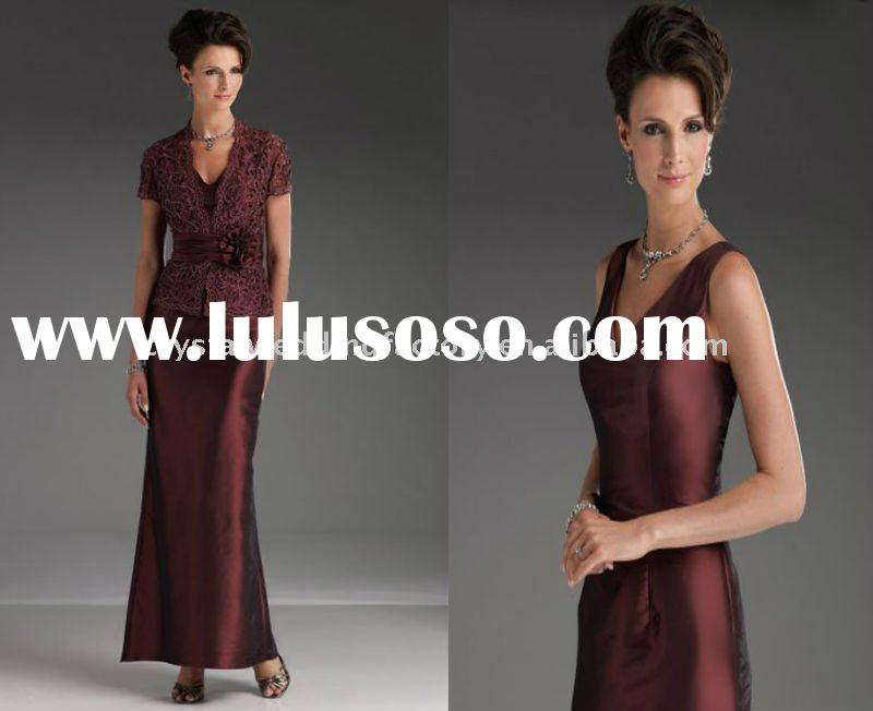 Elegant beaded mother of the bride dress/formal dress with lace jacket CWFam867
