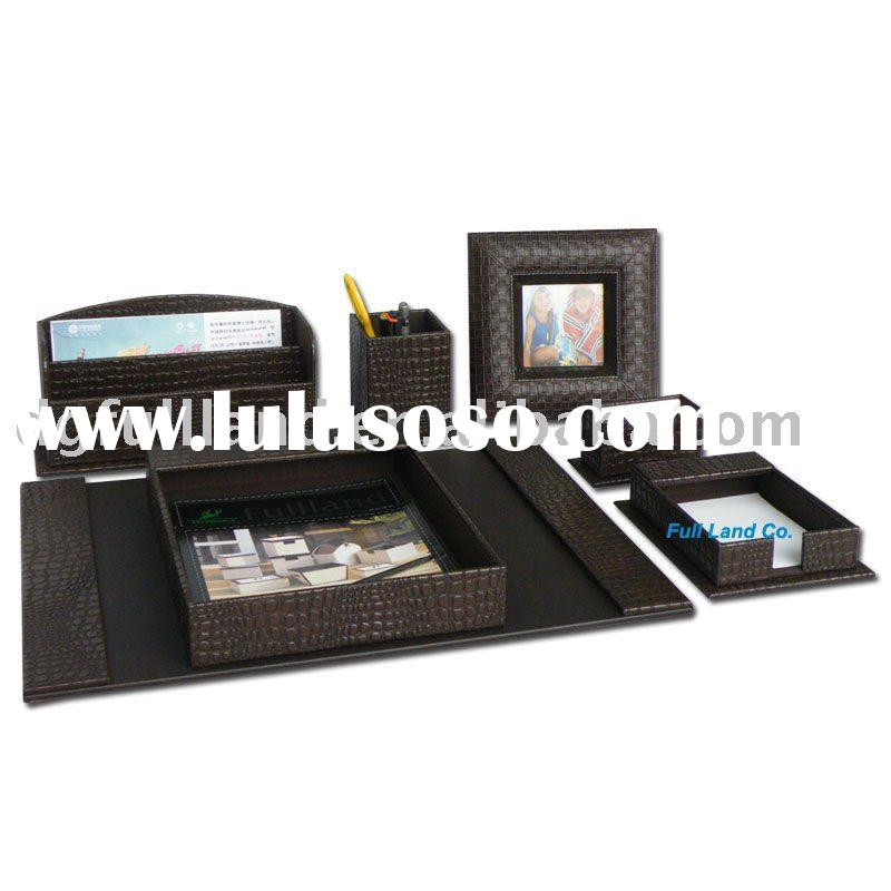 Executive Style Brown Faux Leather Desk Set