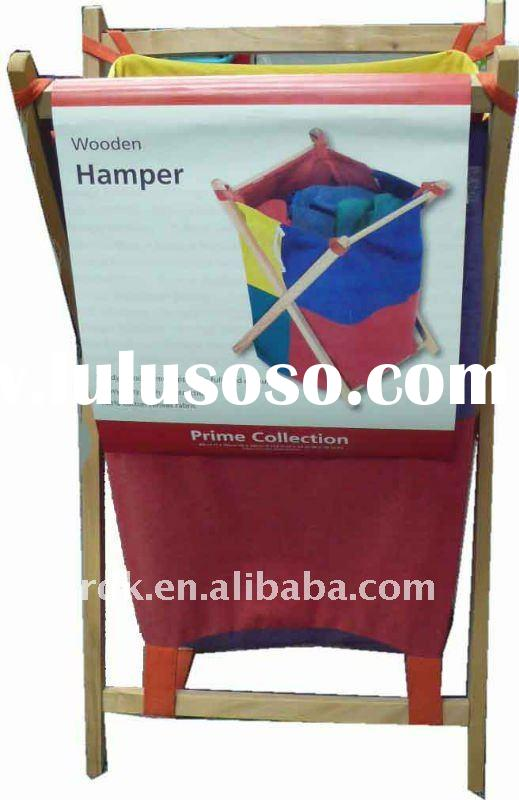Foldable Cotton Canvas Laundry hamper with Wooden Frame