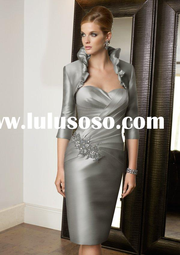 Gray stain knee-length mother bridal dress ML70309