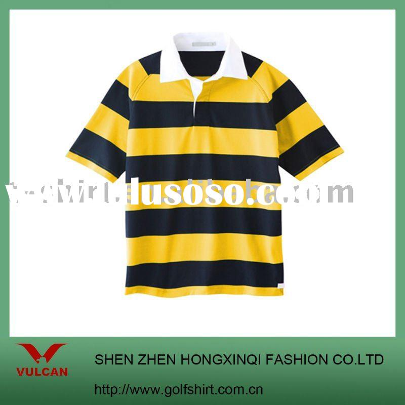 HOT!!Classical yellow and Royal blue stripe polo shirts