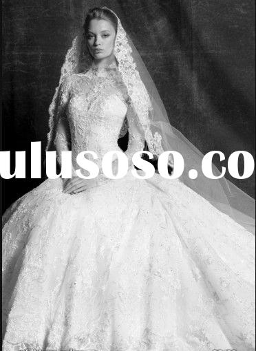 High neck long sleeve lace wedding gown