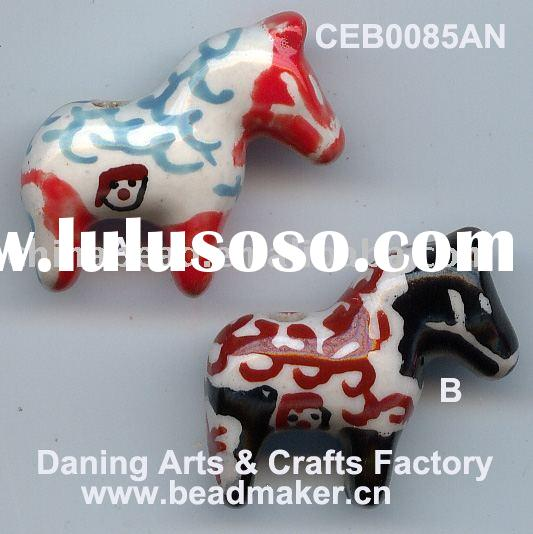 Hot Selling Porcelain Beads Wholesale Handmade Lovely Owl Shaped Ceramic Beads Animal Pottery Beads