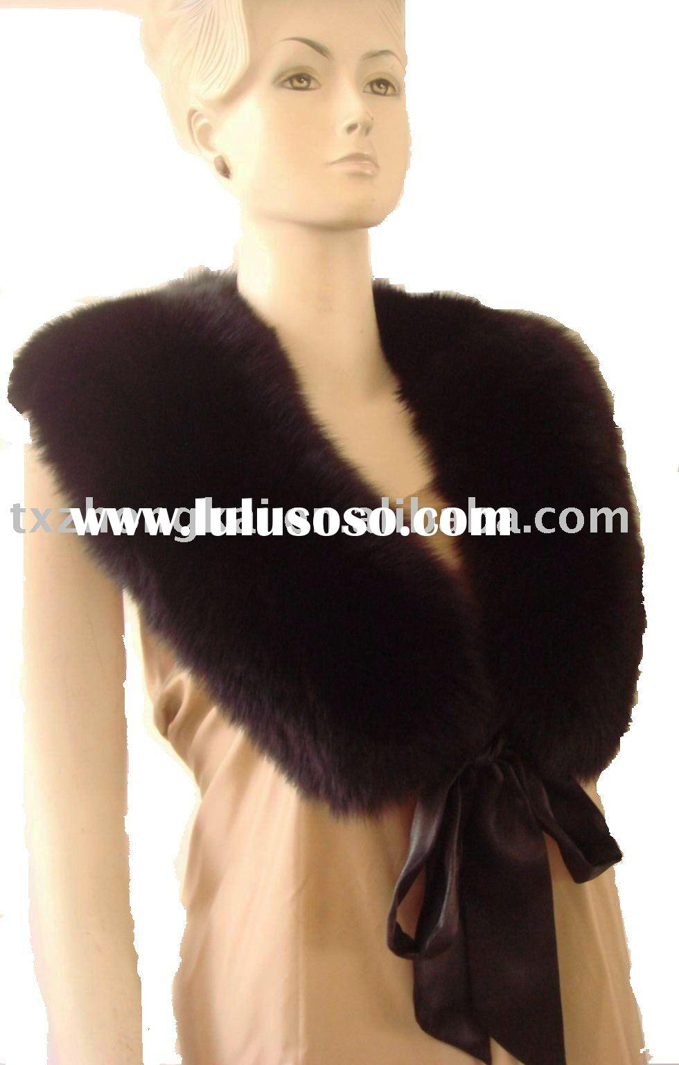 Hot sale luxury Black fox fur collar for jacket with a ribbon fastening