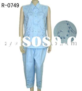 Ladies suit summer design and hand embroidery