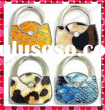 Leather Animal Print Handbag Shaped Foldable Purse Hanger/Bag Hook/Purse Hook/Handbag Hanger Hook/Pu
