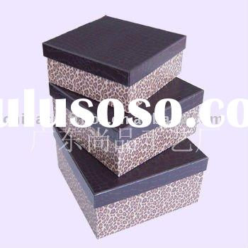 Leopard printing paper gift box/ leather paper storage box