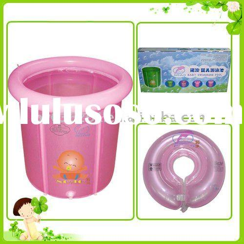 Pink Baby Frame Swimming Pool with Neck Ring, Inflatable Child Swimming Pool
