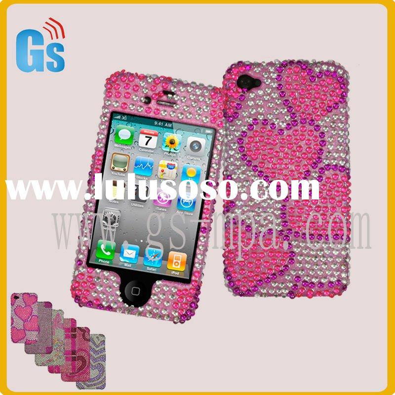 Pink heart design jeweled cell phone cases for iphone 4