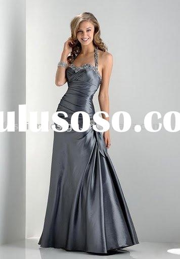 RP044 Silver rhinestones halter party dress and Bridesmaid dress Prom dresses