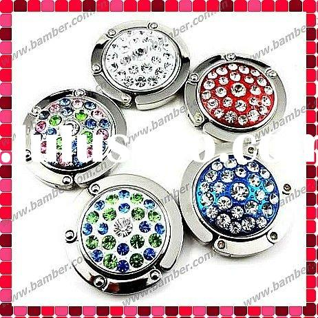 Rhinestones Foldable Purse Hanger Hook/Handbag Hook Hanger/Purse Holder/Bag Hook with Magnets