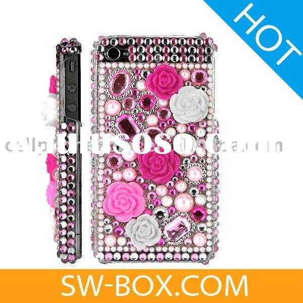 Rose Diamond Rhinestone Bling Hard Case for iPhone 4 (Pink) /jeweled cell phone cases