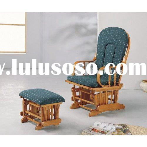 Rubber wood rocker chair with ottoman