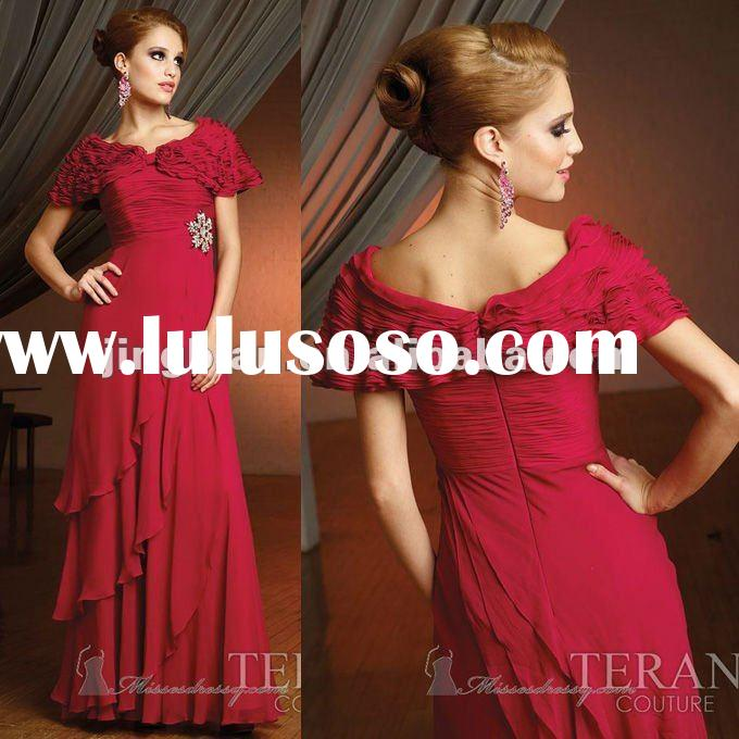 SC1547 cap sleeve floor length red evening dress fashion 2012 by Terani couture