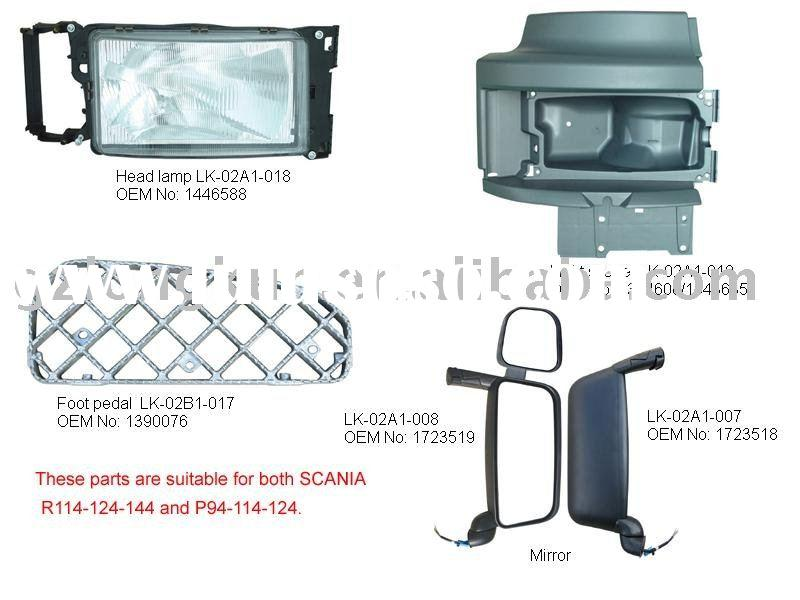 SCANIA truck parts(head lamp, foot pedal, light shade, mirror)