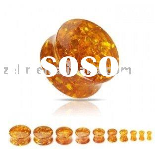 Synthetic amber acrylic ear tunnel ring body piercing plug jewelry
