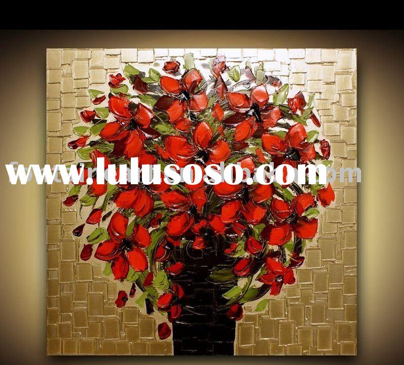 Textured Red Flower Oil Painting on Canvas