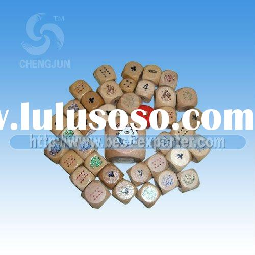 Various funny wooden dice