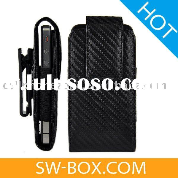 Vertical Carbon Fiber Leather Cases for iPhone 4g