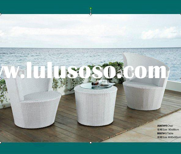 White PE Rattan Garden Chair and table set (A007# chair & B007# table)