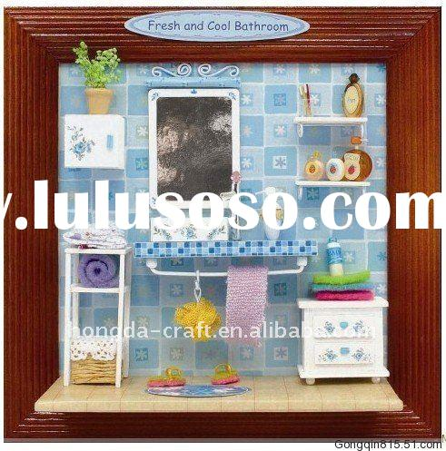 Wholesale-HOT! DIY wooden toy my little house#Fresh and Cool Bathroom
