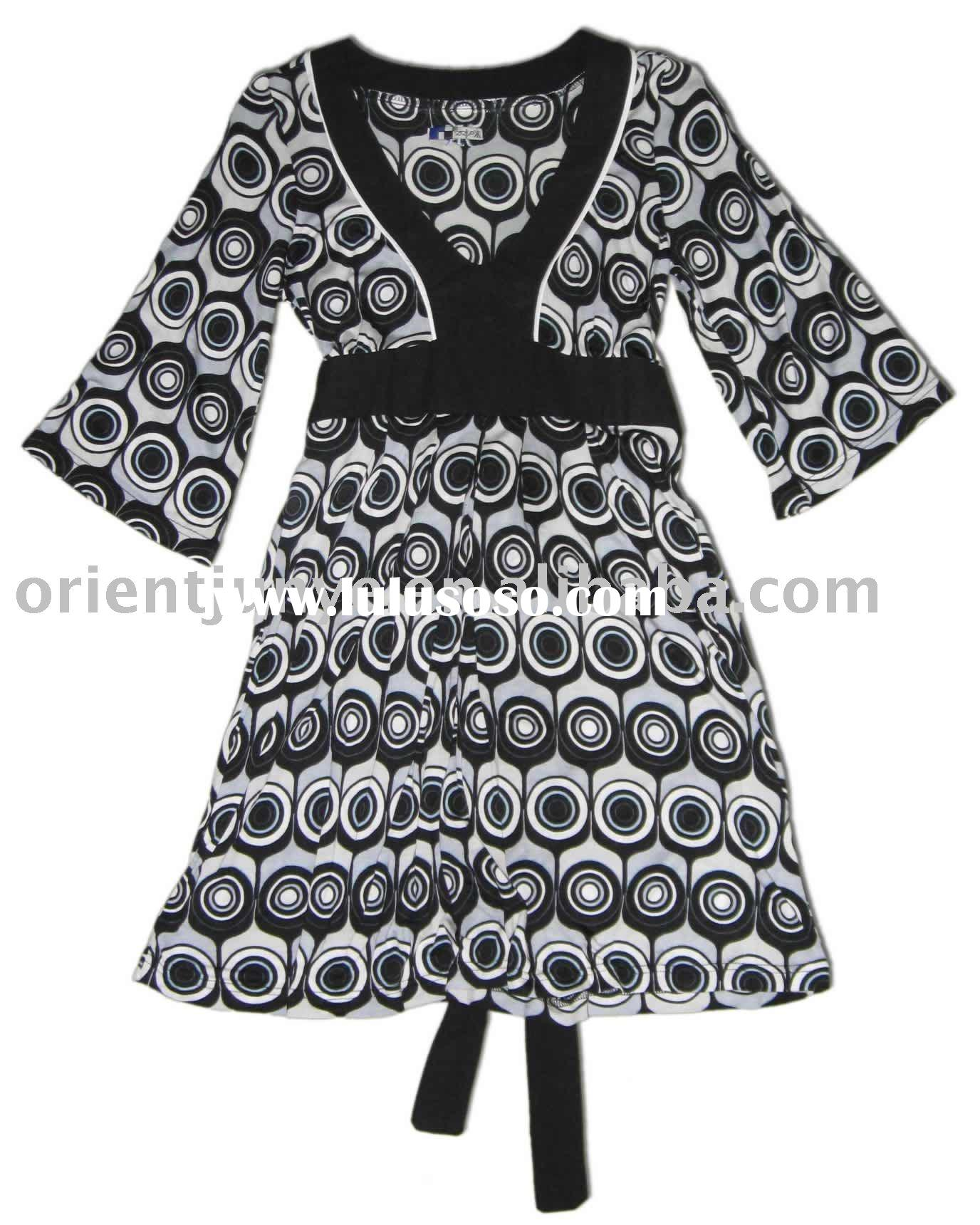 Women's dress made in 100% modal, all over printed