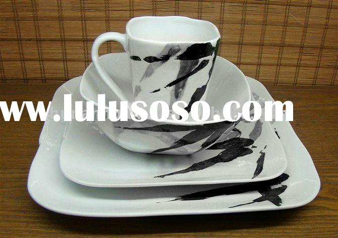 bamboo hand painted porcelain square dinnerware