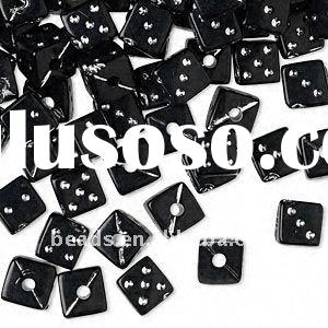 black dice acrylic beads