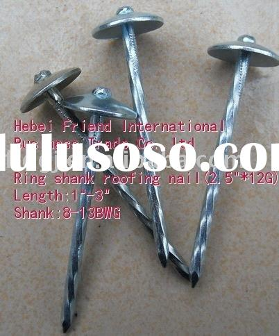 flat head,ring shank roofing nails with electro galvanized